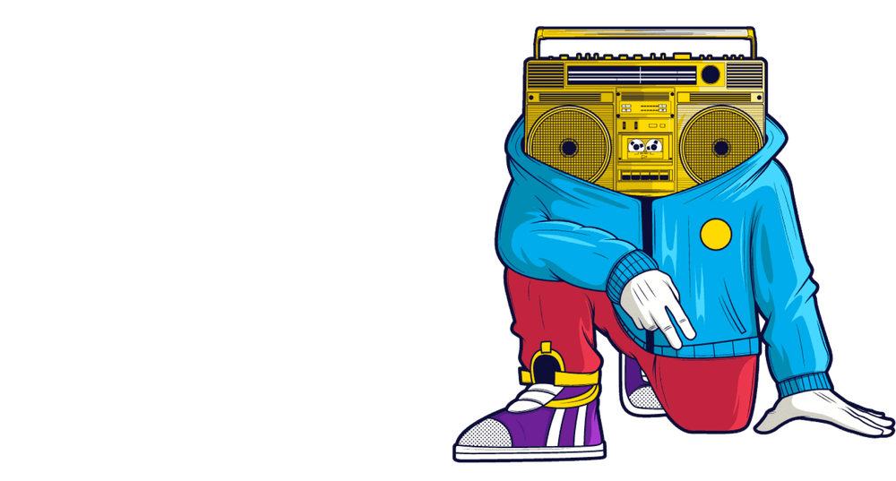 character with a boom box for a head
