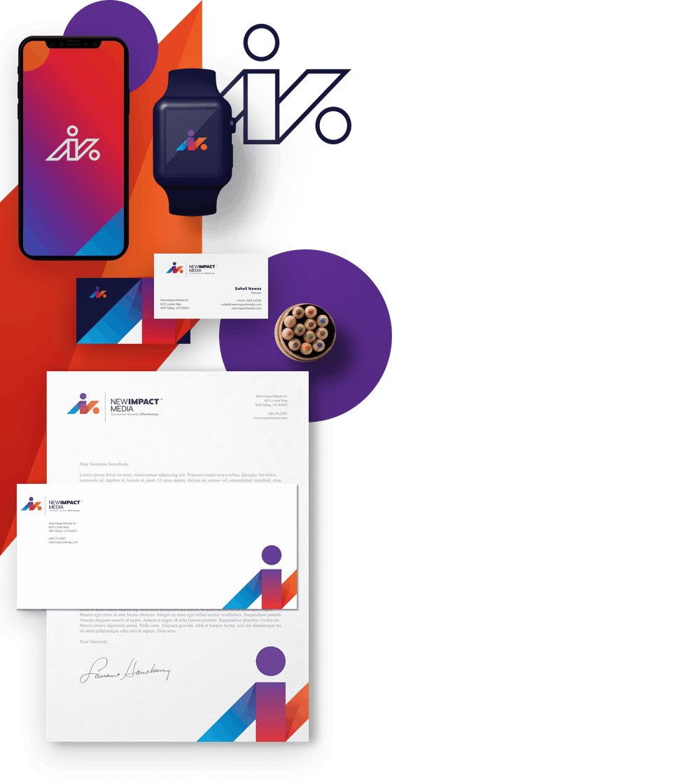 stationary, business cards, and red to blue gradient logo on smartwatch and smartphone screens