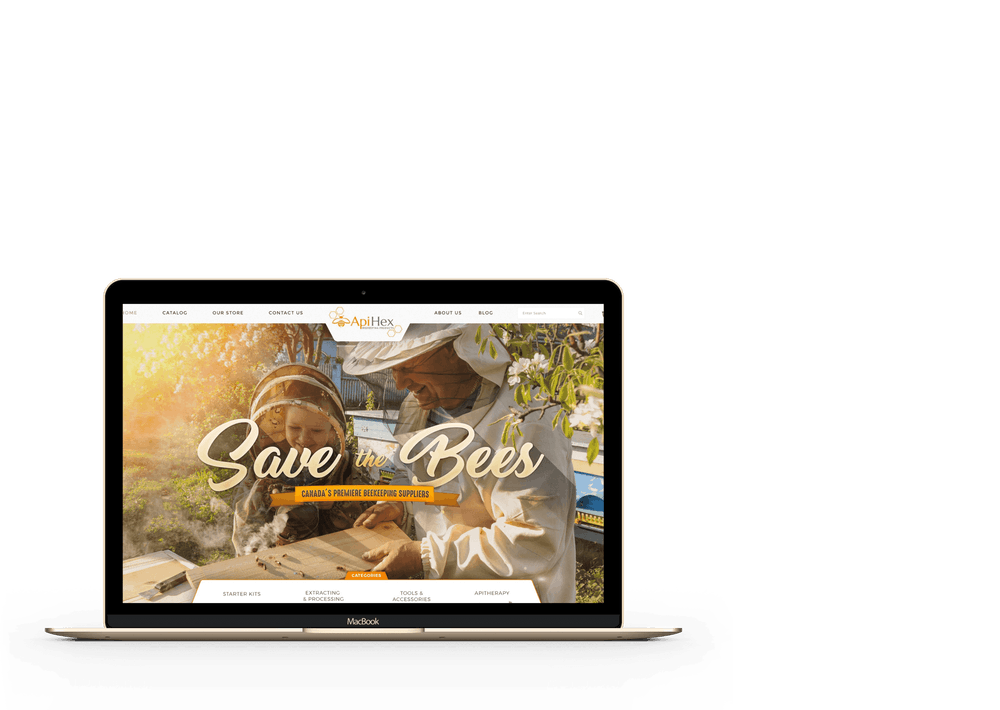 """open laptop with a page showing """"Save the Bees"""" with a beekeeper and a child"""