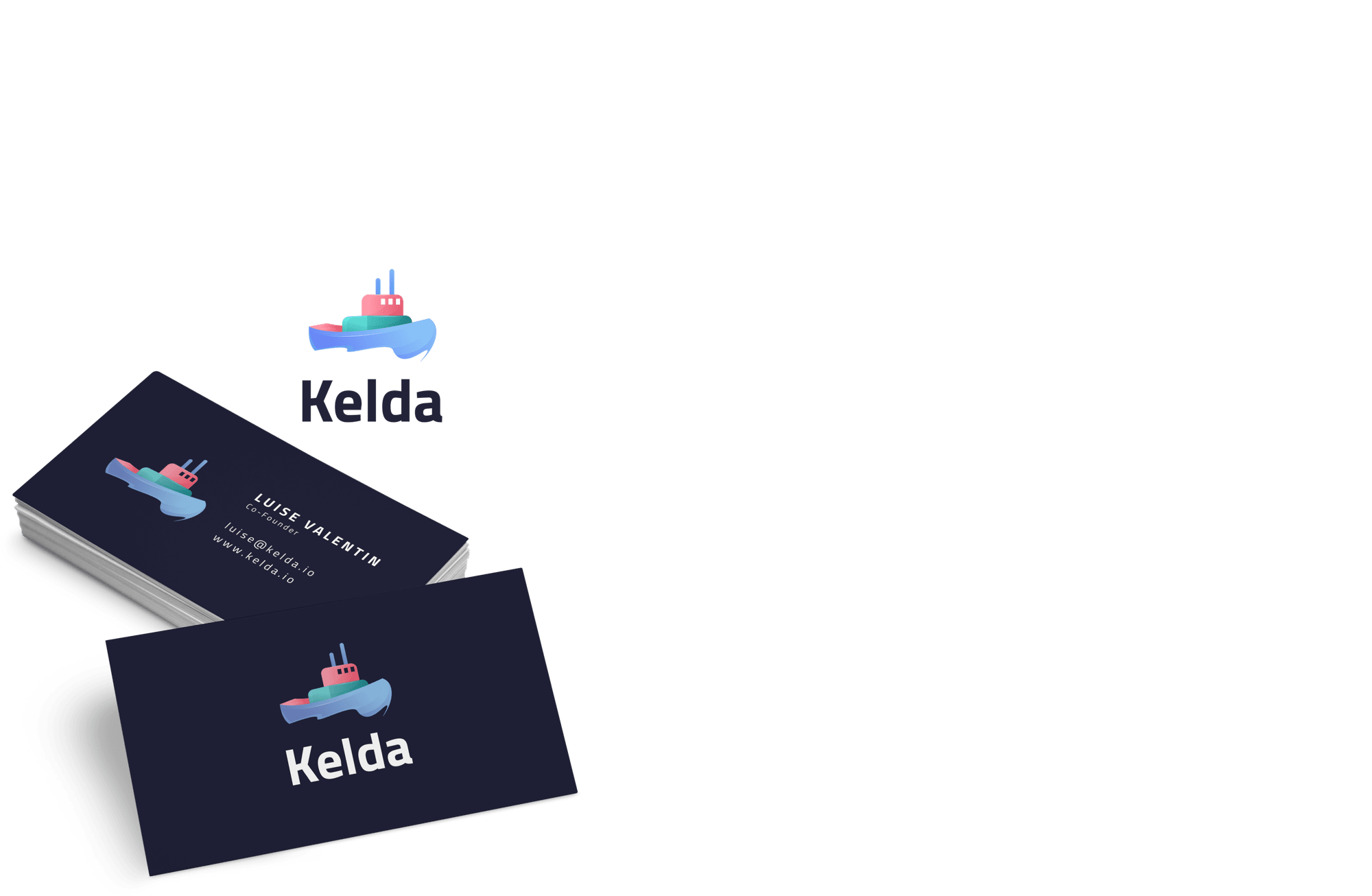pink, blue and green tug boat logo on a dark blue business card