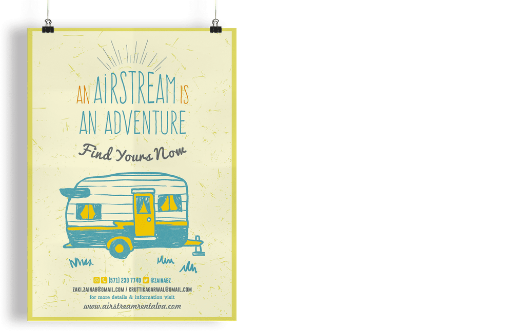 tan and yellow poster with a line drawing of a camper