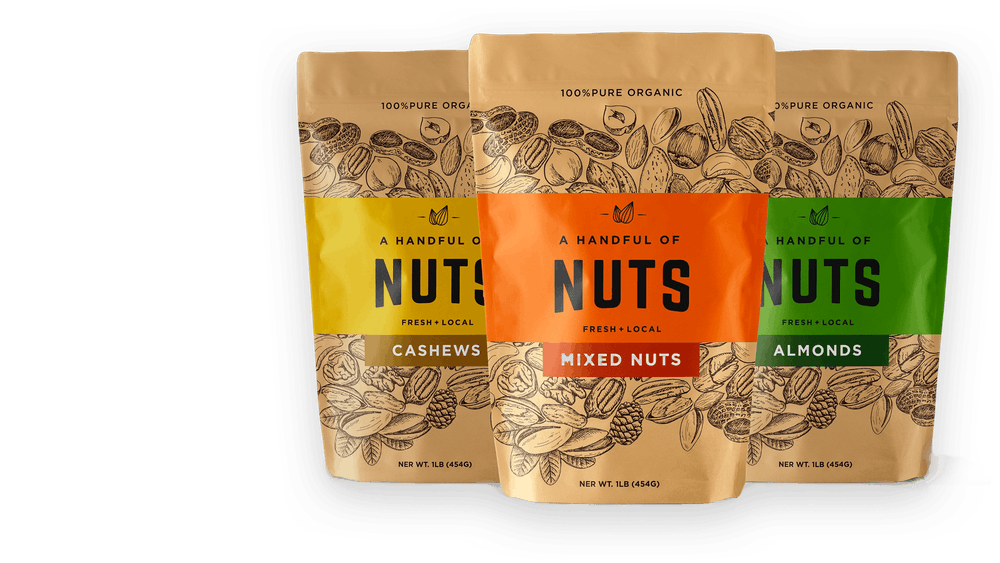 three bags of nuts, each with black line illustrations of nuts